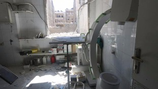 The damage after an air-strike on a hospital on Sunday