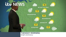 A dry start to Tuesday with some bright spells, though scattered showers developing.