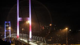Turkey's military blocked access to the Bosporus Bridge on July 15, 2016.