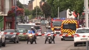 Police and emergency services at the scene.