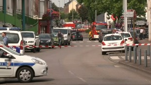 The scene near the church where the hostages were taken.