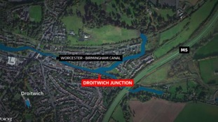 The incident happened on a lock along the Droitwich Junction Canal, off the main Worcester and Birmingham Canal.
