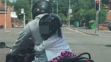 Child 'about six' pictured on back of 'powerful' motorbike