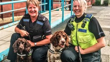 PC Julie Twigg and CSO Jean Charlton with sniffer dogs Yo-Yo and Scamp