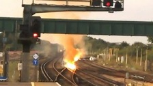 Track fire disrupts train services at Gatwick