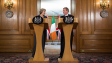 Prime Minister Theresa May and Irish Taoiseach Enda Kenny speak to the media inside 10 Downing Street, London.