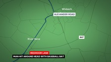 Police are appealing for information after a man was hit around the head with a baseball bat
