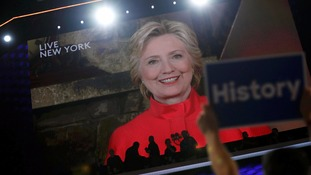 Hillary Clinton celebrates breaking the glass ceiling