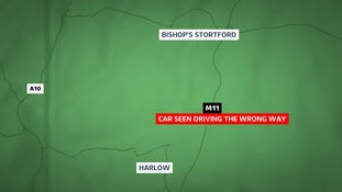A car has been spotted driving the wrong way up the M11 in Essex.