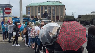 Expectant crowd gathers in Weymouth to catch glimpse of Harry Styles