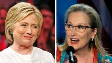Hillary Clinton celebrates breaking the glass ceiling as Streep screams