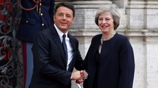 Theresa May meets Italian Prime Minister Matteo Renzi in Rome.