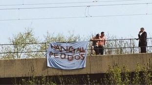 The misspelled banner on Byker Bridge