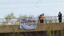 The misspelled banner on Byker Bridge