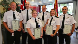 Gemma Woodhouse (centre left) and the team