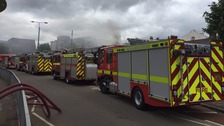 Residents and businesses told to close windows after fire in Exeter