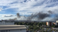 Large rubbish fire breaks out in Cardiff city centre, closing roads