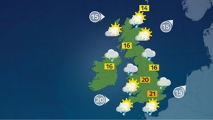 Weather: A rainy day with bright spells in the east