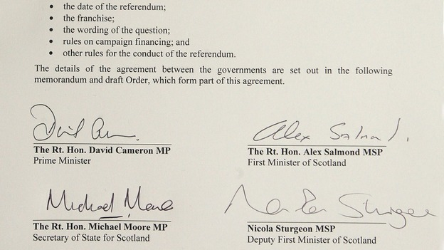 Referendum agreement signed by Prime Minister David Cameron and Scotland First Minister Alex Salmond