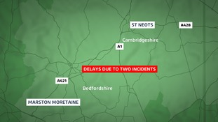 The Highways Agency is warning of long delays in Cambridgeshire and Bedfordshire because of two ongoing incidents.