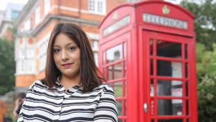 Kiran outside the phone box in Forest Gate, east London where she was found.