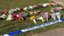Flowers laid in Byland Close where Jodie Betteridge was killed.