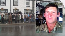Mourners line street for Catterick soldier's funeral