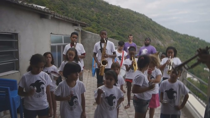 The Favela Brass band practising in Rio