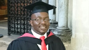 Student stands up for first time in five years to receive degree at graduation