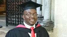 Student stands for first time in 5 years to receive degree