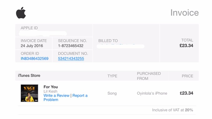 Apple Warns ITunes Customers To Delete Hoax Email ITV News - Apple iphone invoice