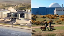 The new Hinkley Point C nuclear power station (left) could spark similar projects at Sizewell (right) and Bradwell.