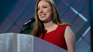 Chelsea Clinton speaking at the Democratic National Convention.