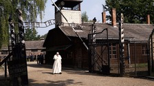Pope Francis visits former Nazi German concentration and extermination camp Auschwitz-Birkenau.