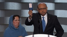 Father of killed Muslim US soldier ridicules Trump on stage
