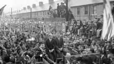 World Cup heroes Bobby (l) and Jack Charlton during a triumphal homecoming in Ashington