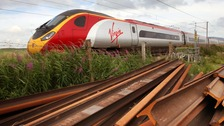 Virgin train on the West Coast line near Abington, Scotland