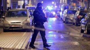 A masked Belgian police officer.