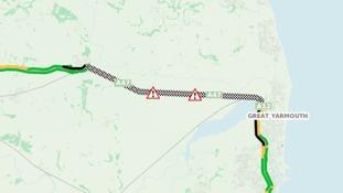 A47 closed due to crash.