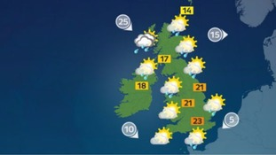 Sunny spells and showers for many at the weekend
