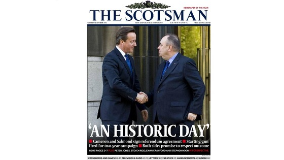 The front page of tomorrow's Scotsman