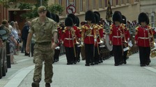 The Royal Anglian Regiment marched through the town.