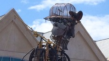 The biggest mechanical puppet made in Britain is halfway through a tour of Cornwall, and has arrived in Truro.