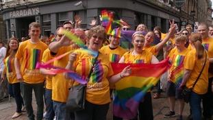 Revellers enjoying the fun at Nottingham Pride.