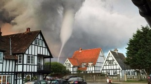 The tornado appeared over the town of Thorpeness in Suffolk.
