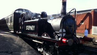 The steam train prepares to carry Bernard Holden on his final journey