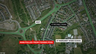 The man was pulled from a small fishing lake in the St Michael's road area of Stoke.
