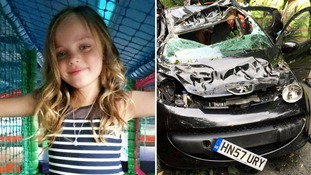 Girl escaped decapitation by inches in freak car accident