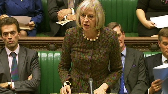 Home Secretary Theresa May speaks in the House of Commons, London.