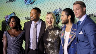 Left to right: Viola Davis, Will Smith, Margot Robbie, Jared Leto and Joel Kinnaman at the premiere.